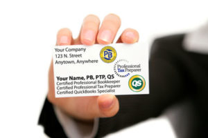 Business Card for Professional Bookkeeper, a certified Professional Tax Preparer, and a certified QuickBooks Specialist.
