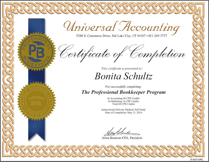 Professional Bookkeeper Certification Universal Accounting School