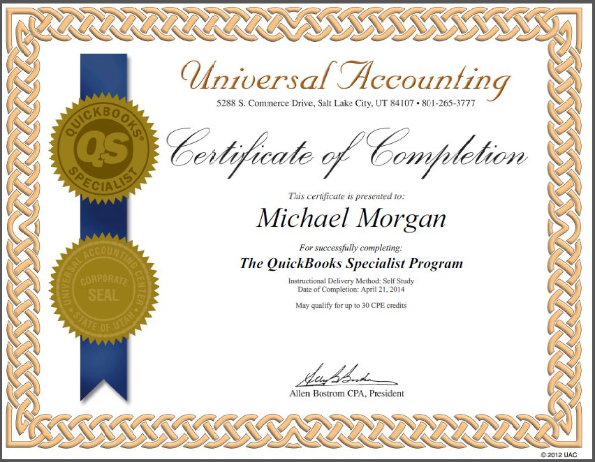 Quickbooks Specialist Certification Universal Accounting School