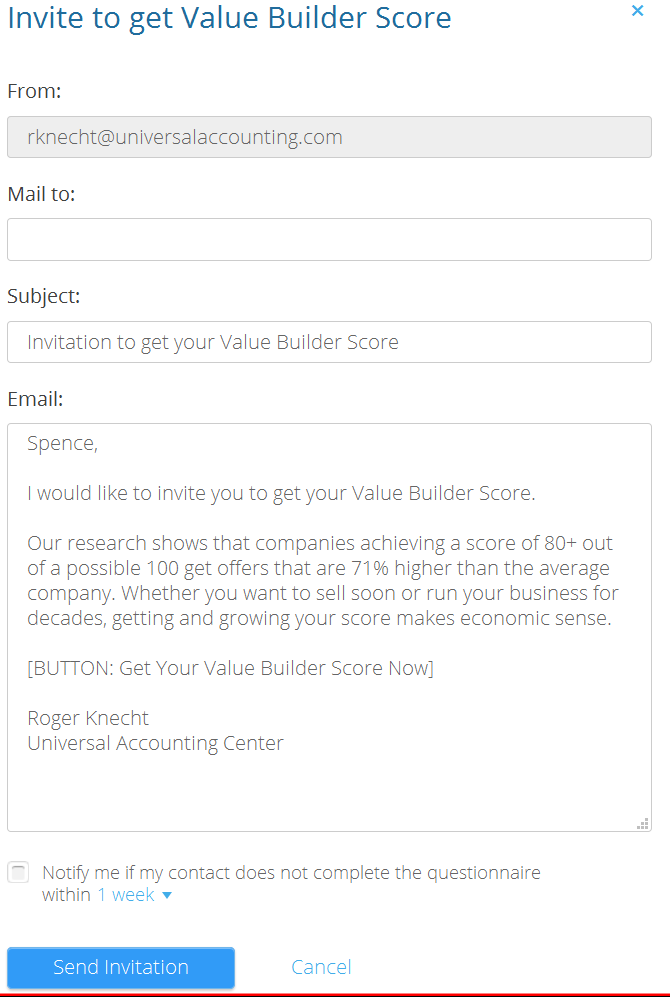 Value Builder Certification Benefits, invite-to-receive-score