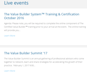 Value Builder Certification Benefits, live-events