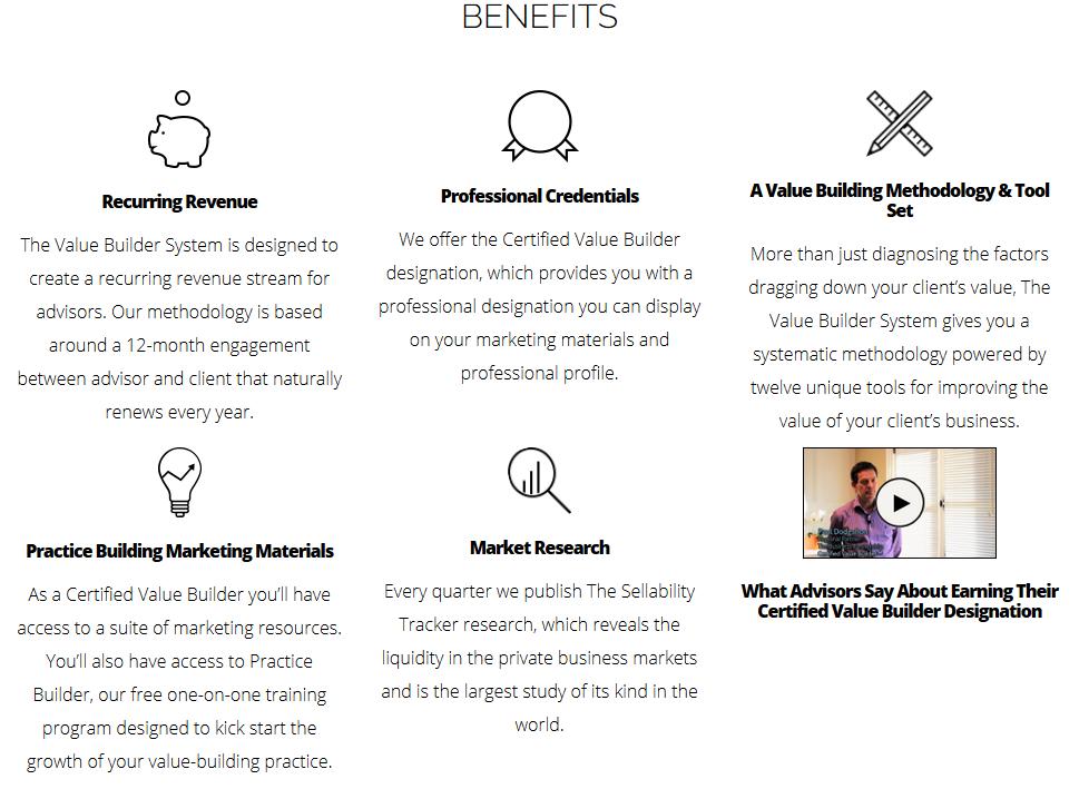 Value Builder Certification Benefits